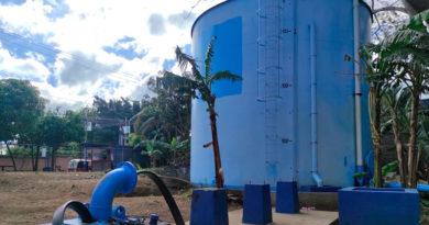 Tanque de nuevo pozo de agua potable en Villa Fontana, Managua