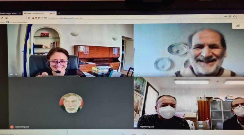 Embajadora Mónica Robelo en video conferencia con el Director de la Unidad de Nefrología, Doctor Roberto Bigazzi, el Profesor Stefano Bianchi y el Señor Mauro Rubichi, Presidente de la Asociación Italia- Nicaragua de la ciudad de Livorno.