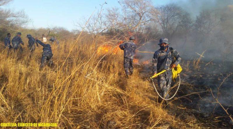Efectivos militares durante sofocación de incendios