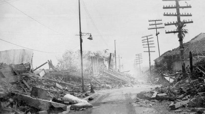 Fotografía que muestra los destrozos ocasionados por el terremoto sucedido en 1931 en Managua