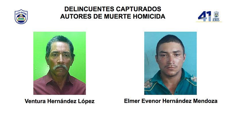 Delincuentes capturados por la Policía Nacional en la región del Caribe Norte nicaragüense