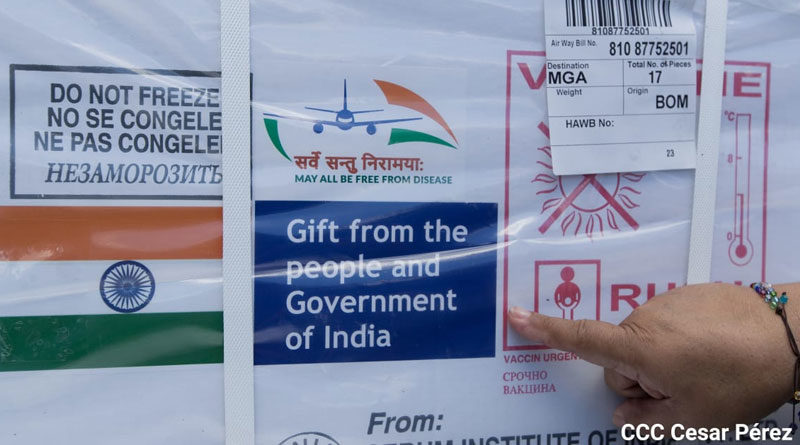 Vacunas donas a Nicaragua por el Gobierno de India