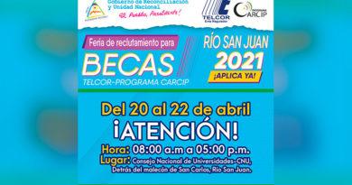 Arte de TELCOR ofreciendo la feria de becas en San Carlos Río San Jun, Nicaragua.