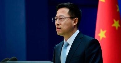 Portavoz del Ministerio de Relaciones Exteriores chino, Zhao Lijian en conferencia de prensa