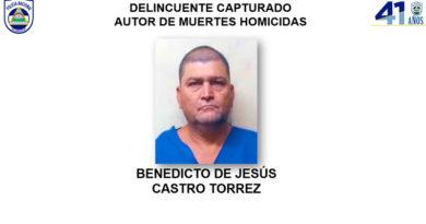 Delincuente capturado Benedicto de Jesús castro Torrez, autor de muertes homicidas