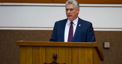 Presidente de la República de Cuba y Primer Secretario del Partido Comunista de Cuba, Miguel Díaz-Canel, durante el discurso que cerró la sesión de la Asamblea Nacional del Poder Popular