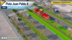 Vista aérea del diseño de la pista Juan Pablo II