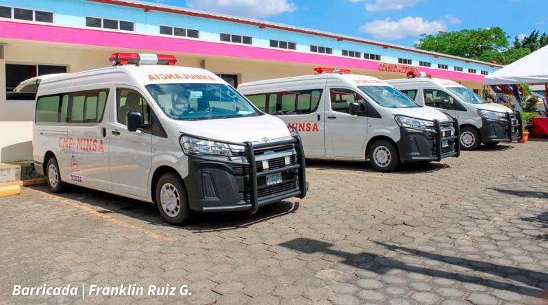 Ambulancias entregadas por el Ministerio de Salud de Nicaragua a las clínicas médicas provisionales de Estelí, Rivas, Chontales, Jinotega y Las Minas