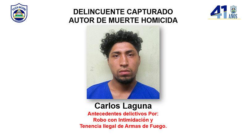 Delincuente capturado Carlos Laguna, autor de muerte homicida en perjuicio de Sixto Ramón Castro Picado (Q.E.P.D.) en el municipio Santa María de Pantasma, departamento de Jinotega.