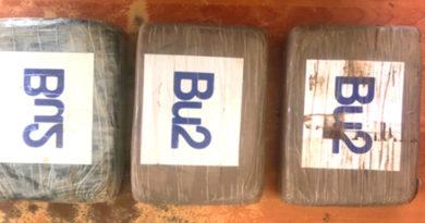 3 Kilos con 381 gramos de Cocaína incautada por la Policía Nacional de Nicaragua