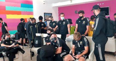 Jugadores del campeón de la MLS, Columbus Crew tras su llegada a Nicaragua, para medirse ante el Real Estelí en el juego de ida de los octavos de final de la Liga de Campeones de CONCACAF.