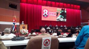 Presidente de Cuba, Miguel Díaz-Canel interviniendo en el VIII Congreso del Partido Comunista de Cuba