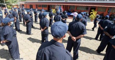 Nuevos bomberos que cursarán el curso de inducción en Managua