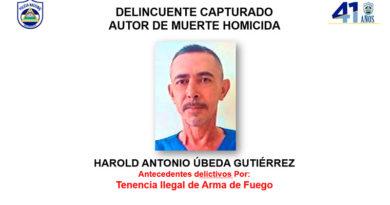 Fotografía del delincuente capturado Harold Antonio Úbeda Gutiérrez, autor de muerte homicida en Paiwás, Matagalpa