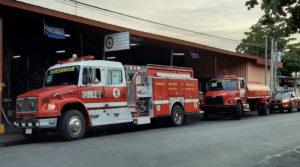 Camiones apagafuego que fueron movilizados a la nueva estación de bomberos en Diriomo