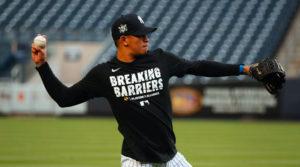 El nicaragüense Jonathan Loáisiga durante un entrenamiento de los Yankees de Nueva York para la MLB.