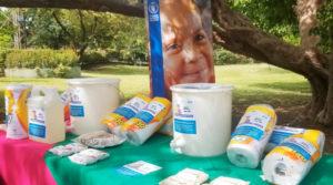 Se muestra parte de los kits de higiene entregado por parte del Programa Mundial de Alimentos al Ministerio de Educación (MINED)