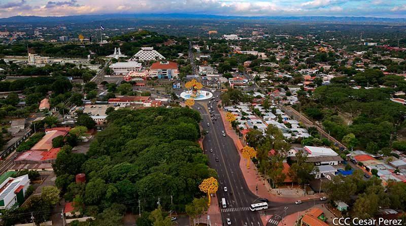 Vista aérea de la Avenida Bolívar en Managua
