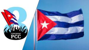 Bandera de Cuba y el logo del Octavo Congreso del Partido Comunista de Cuba