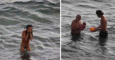 Imágenes en el Mar Rojo durante el parto dentro de las aguas