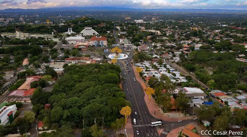 Imagen aérea de la Avenida de Bolívar a Chávez en Managua