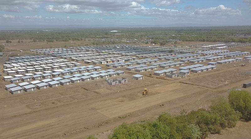 Vista aérea donde se ven las casas del Programa Bismarck Martínez en Villa Jerusalén, Managua