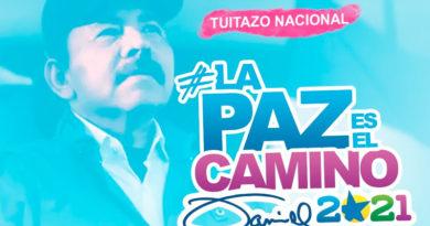Imagen que muestra al Presidente de Nicaragua Comandante Daniel Ortega junto a la etiqueta #LaPazEsElCaminoDaniel2021