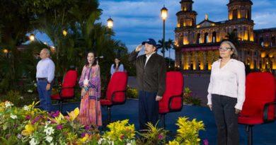Vicepresidenta de Nicaragua, Rosario Murillo y Comandante Daniel Ortega durante acto del tránsito a la inmotalidad del Comandante Tomás Borge Martínez