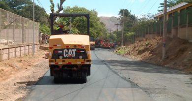 Una de las 11 calles mejoradas de la comarca Nejapa en Managua.