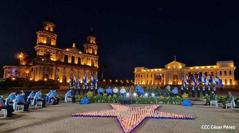Acto en homenaje al 126 aniversario del natalicio del General Sandino en la Plaza de la Revolución