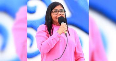 Delcy Rodríguez en la plaza de la Fe, durante el acto del 19 de julio de 2019