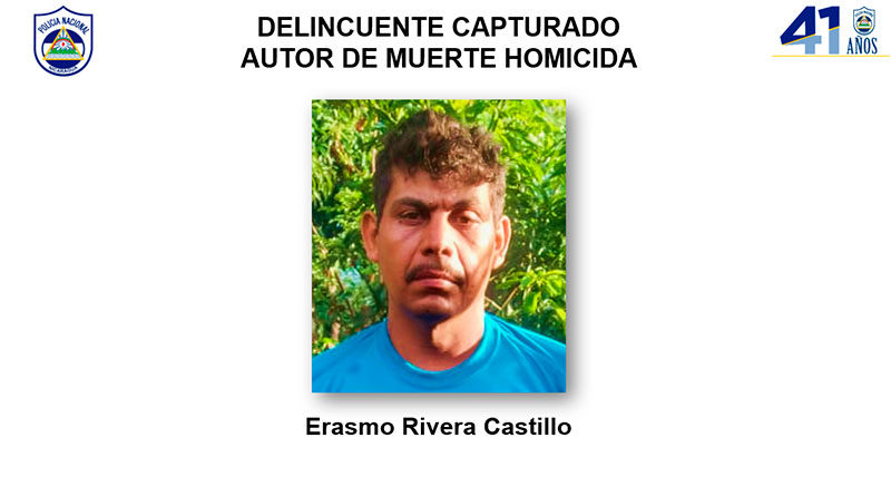 Delincuente capturado Erasmo Rivera Castillo, autor de muerte homicida en San Sebastián de Yalí, departamento de Jinotega.