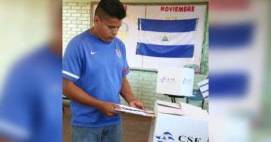 Nicaragüenses colocando su boleta electoral después de ejercer su derecho al voto