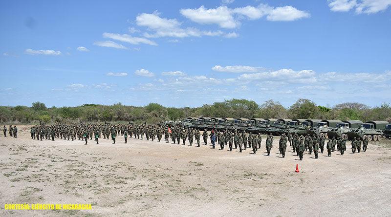"""Efectivos militares del Ejército de Nicaragua en el Polígono Nacional de Maniobras """"General de División Francisco Estrada""""."""