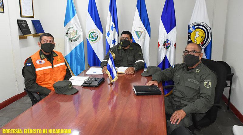 Altos mandos del Ejército de Nicaragua participando en reunión virtual para fortalecer lazos de amistad y cooperación internacional