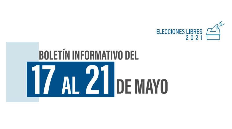 Portada del Boletín Semanal del 17 al 21 de mayo, Elecciones Libres Nicaragua 2021