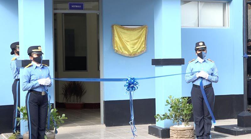 Oficiales de la Policía Nacional durante la inauguración de la estación policial en el municipio de Totogalpa en Madriz.