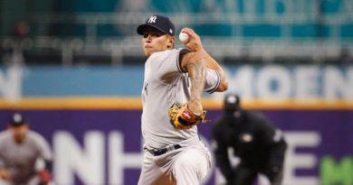 Jonathan Loáisiga durante un juego con los Yankees de Nueva York.