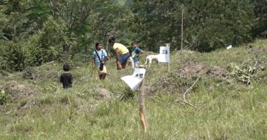 Familias del Macizo de Peñas Blancas durante la entrega de lotes de terrenos donde podrán habitar con mayor seguridad en El Tuma – La Dalia.