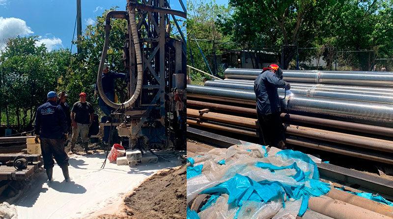 Máquina perforadora para el pozo de agua potable en San Isidro de Bolas, Managua
