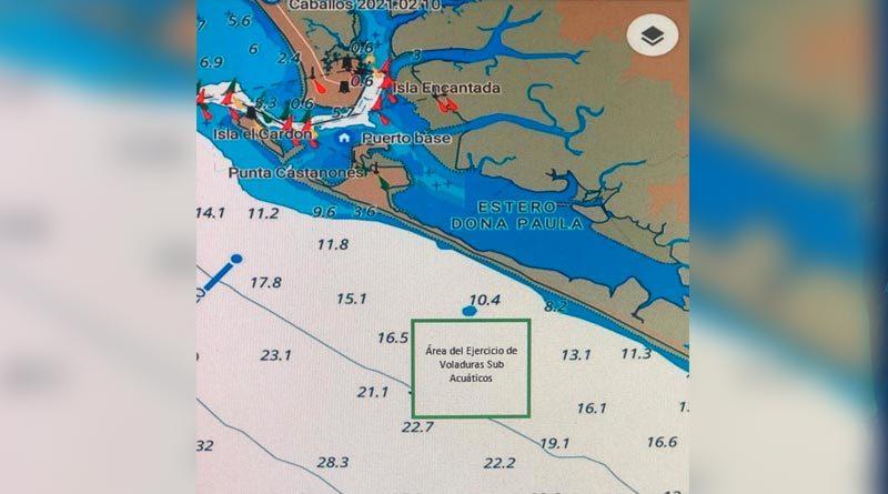 Zona donde el Distrito Naval Pacífico de la Fuerza Naval del Ejército de Nicaragua realizará el primer ejercicio de voladuras subacuática, en la isla El Cardón.