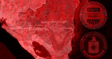 Mapa de Nicaragua en rojo baja la influencia de organismos extranjeros como la USAID