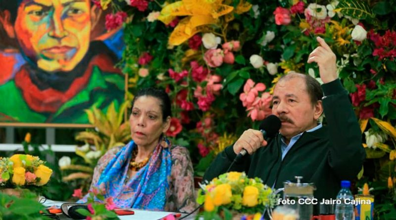Presidente Daniel Ortega y Vicepresidenta Rosario Murillo durante XIX Cumbre del ALBA TCP