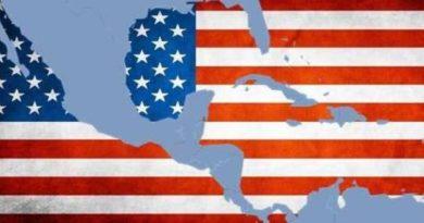 Mapa de América sobre la bandera de EEUU