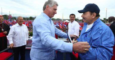 Miguel Diaz Canel junto al Presidente de Nicaragua Daniel Ortega