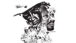 Dibujo en carbón del General Augusto C. Sandino y el Comandante Carlos Fonseca como símbolos del pueblo de Nicaragua.