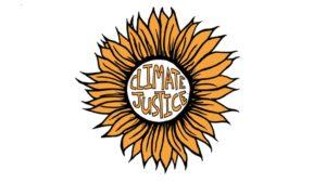 Logo de un girasol con la frase Justicia Climática