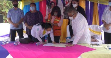 Autoridades del Ministerio de Salud durante la firma del proyecto de construcción de la nueva y moderna área de consulta externa del Hospital Departamental General Pedro Altamirano del municipio de La Trinidad de Estelí.