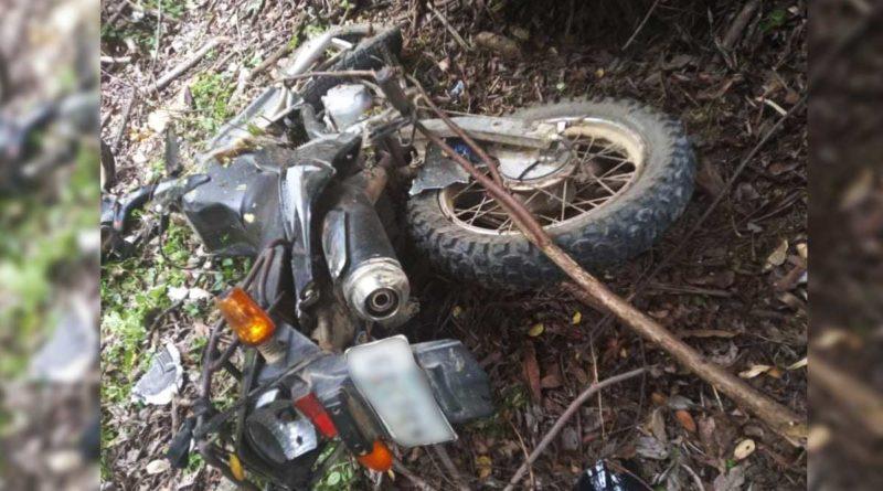 Motocicleta caída tras el impacto contra un árbol