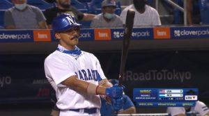 Juan Diego Montes de la Selección de Béisbol de Nicaragua durante el juego ante Estados Unidos en el Preolímpico de Béisbol de las Américas.